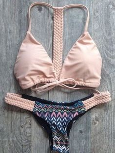 Love Pink + Grey! Love the Braiding! Sexy Pink and Grey Spaghetti Strap Spliced Printed Lace-Up Women's Bikini Set #Pink #Grey #Braided #Bikini #Beach #Fashion