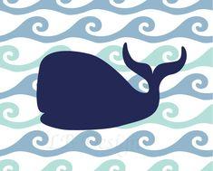 Navy Blue Whale Nursery  Print - 8x10. $8.00, via Etsy.