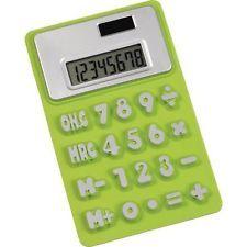 5 x Lime Green Flexible Rubber Non-Slip Calculator - Office Stationary Equipment