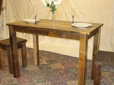 Rustic, Handmade, Farmhouse Table This is a very unique table which is handmade using Rustic, Rough Cut, Mill Lumber which has been seasoned perfectly to achieve desired Characteristics. The wood comes directly from a local coastal Mill and has been cut and seasoned especially for my Farmhouse Furniture Style. It has a very appealing cottage and country charm.   * MEASURES 84 LONG X 24 WIDE X 36 HIGH.  * VERY STURDY CONSTRUCTION WITH TABLE SKIRTS AND HANGER BOLT LEGS.  * SQUARE LEGS…