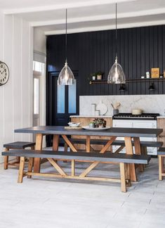 Our wonderfully versatile table and bench set can be set either indoor or outdoor for a fabulous impactful family dining space. Contemporary in design each piece, a table, two large benches and two stools, come with a robust cement fibre to