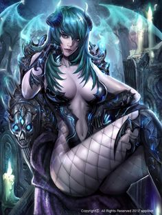 Artist: Kang Hee Gwang aka nax - Title: Legend of the Cryptids - Card: Captivating Allatu (Infatuation)