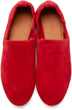 Rosetta Getty Red Suede Loafers