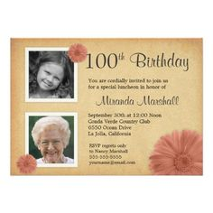 Shopping100th Birthday Vintage Daisy 2 Photo Invitesso please read the important details before your purchasing anyway here is the best buy