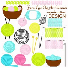 Yarn Love Clip art Elements. Great for invitations, cards, and paper goods. These were all made from my build a package clip art set.