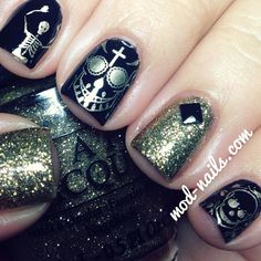 How pretty is this grown up take on Halloween nail art?   Halloween by modnails  #nail #nails #nailart