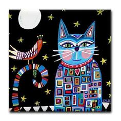 Cat Gifts  Cat Folk Art  Ceramic Tile Coasters by HeatherGallerArt, $20.00