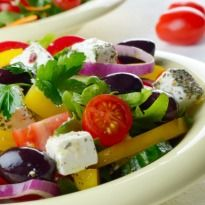 Greek Salad with Lemon Dressing ...... Experience the freshness of herbs and veggies combined with a subtle drizzle of a refreshing dressing. This vibrant salad adds a splash of beautiful colours on your plate!