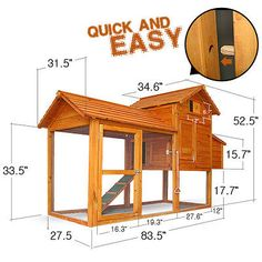 """84""""*34""""*53"""" Backyard Wood Chicken Coop Hen House Rabbit Hutch Small Animal Cage in Business & Industrial, Agriculture & Forestry, Livestock Supplies 