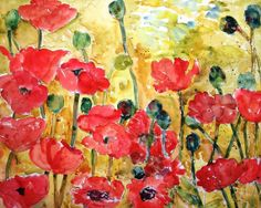 """Floral Watercolor Painting PRINT 11x14"""" matted print, emberglow red coral flowers, bamboo mustard yellow background. $29.00, via Etsy."""