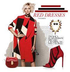 Red Dress by kathy-martenson-sanko on Polyvore featuring Balenciaga, Chloé, Chanel and Linda Farrow
