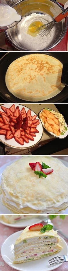 Layered French Crepes Fruit Cake Recipe Eierkuchen mit süßer beilage lecker *-… Layered French Crepes Fruit Cake Recipe Pancakes with sweet side dish delicious * – * mhmm … Fruit Recipes, Chicken Recipes, Cooking Recipes, Healthy Recipes, Cake Recipes, Recipies, I Love Food, Good Food, Yummy Food