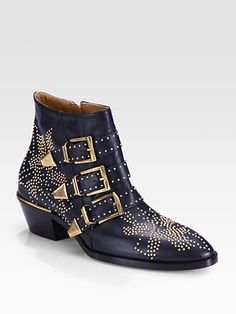 Chloé Studded Leather Buckle Ankle Boots
