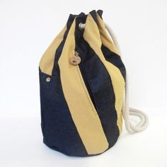 Items similar to SALE - LeBigSac Backpack, denim patchwork stripes, rope, yellow & blue on Etsy Gabriel, Denim Patchwork, Sling Backpack, Bucket Bag, Yellow, Blue, Stripes, Backpacks, Trending Outfits