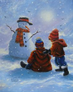 Snow Kids Painting, two brothers, snowman paintings, children in snow paintings, winter, Vickie Wade paintings. $95.00, via Etsy.