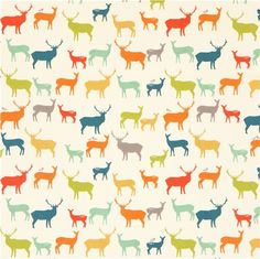 Tissu série animaux par Jay-Cyn Designs « Elk Fam » avec des chevreuils, des cerfs et des oiseaux multicolores, importé des Etats-Unis