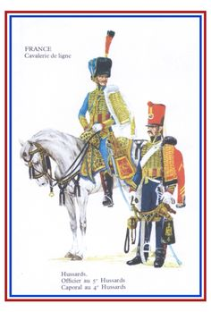 Officer of the 5th Hussars, mounted;  trooper of the 4th Hussars, standing.  Both regiments fought at Ligny and Wavre against the Prussians.