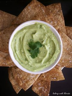 Baking with Blondie : Creamy Avocado Yogurt Dip & Baked Whole Wheat Tortilla Chips with Sea Salt