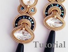 How to do Soutache Bead Embroidery: Part 6 How to Add a Simple Beaded Edge Ribbon Jewelry, Diy Jewelry, Jewelery, Handmade Jewelry, Fashion Jewelry, Jewelry Making, Tutorial Soutache, Soutache Pattern, Earring Tutorial