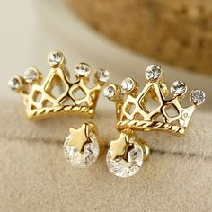 Adorable Star Crown Rhinestone Stud Earrings