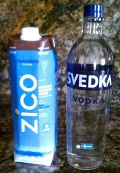"""I created a wonderful new drink I am calling """"Sex Magic Martini"""" - chocolate coconut water from Trader Joe's with vodka."""