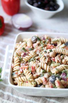 MEDITERRANEAN DILL PASTA SALAD WITH TAHINI VINAIGRETTE DRESSING » great for make-ahead lunches or potlucks! {vegan}