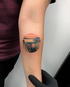 Edvard Munch's The Scream tattoo on the left inner forearm.