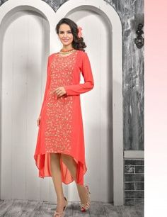 Orange Party Wear Designer Kurti Georgette Fabric With Embroidered Work