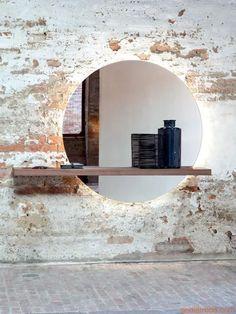 Sunset 7501: Spiegel Tonin Casa mit Holzregal, in verschiedenen Ausführungen verfügbar, auch mit LED-Beleuchtung - Sediarreda