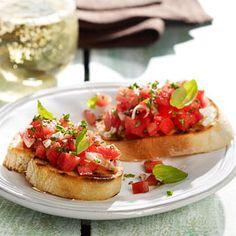 grilovaná bruschetta Ciabatta, Bruschetta, Grilling, Veggies, Snacks, Ethnic Recipes, Food, Diet, Sandwich Spread