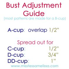 Full bust adjustment guide for pattern alterations. (Note: if you are not a B-cup, you NEED this)