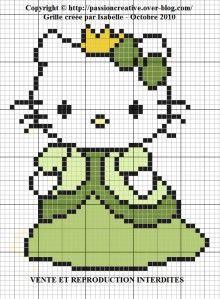 Princess Hello Kitty perler bead pattern