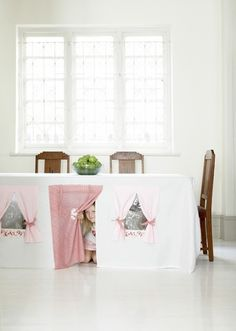 Tablecloth play house Tea parties are even more fun when they take place underneath the table instead of above it. Buy the kit (or simply borrow the idea) here: CoolSpacesForKids / Kids Decor