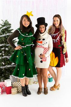 DIY Ugly Christmas Sweaters - DIY Ugly Sweater Dress - No Sew and Easy Sewing Projects - Ideas for Him and Her to Wear to Holiday Contest or Office Party Outfit - Funny Couples Sweater, Mens Womens and Kids diyweihnachten Couple Christmas, Noel Christmas, Christmas Outfits, Christmas Fashion, Diy Christmas Costumes, Christmas Tree Dress, Xmas Costumes, Christmas Clothing, Christmas Scenes