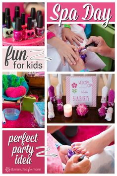 Kids spa day party ideas - How to plan a spa day for girls. this is an easy fun kids activity for a quiet day at home or add some extra decorations and turn it into a an event with friends for a birthday party. day at home for kids Girls Spa Day Spa Day Party, Girl Spa Party, Spa Birthday Parties, Home Birthday Party Ideas, Party Party, Party Games, Spa Day For Kids, Spa Day At Home, Kinder Spa Party