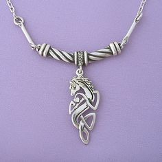 Celtic Horse Silver Pendant Necklace