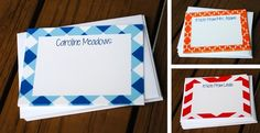 "Set of 8 flat note cards featuring a chevron, stripe, gingham, zebra print, or Moroccan pattern with the recipients name (or whatever phrase you wish!). Includes white envelopes. Makes a great gift for a friend, teacher, or loved one, or a special treat just for you! SIZE: 5.5"" x 4.25"" flat cards PRINTING: Digitally flat printedPAPER: High quality, smooth, white, 100# coverPACKAGING: All sets are secured in a clear packaging and tied with a ribbon"