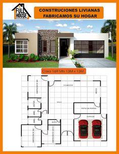 Full House Prefabricados Model House Plan, Dream House Plans, My Dream Home, Minimalist House Design, Modern House Design, Mediterranean House Plans, Modern Contemporary Homes, Bungalow House Design, Dream House Exterior