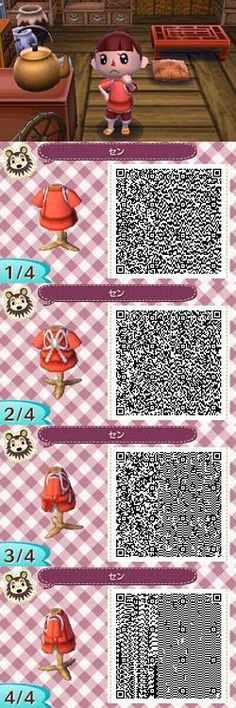 Animal Crossing New Leaf QR Code Chihiro / Sen pink work outfit Spirited Away