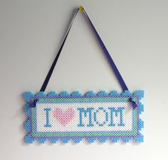 I love Mom Wall Hang perler beads decor by ThinkPinkyPink
