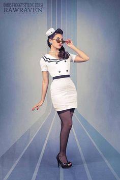 tubino alla marinara 50' Style Summer Edition Bianco Taglia XS