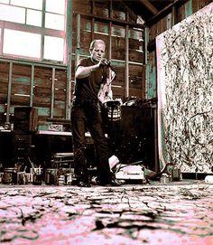 jackson pollock in studio   Jackson-Pollock-in-his-studio