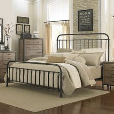 Shady Grove Iron Bed in Antiqued Natural by Magnussen Home ...