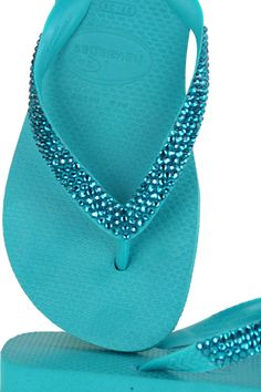 d3330dd1024955 Havaianas with Blue Zircon Crystals. These flip flops are so pretty! Shades  Of Turquoise