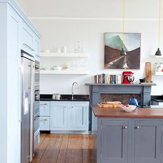 Kitchen with painted cabinetry and walnut worktop | Kitchen decorating | Ideal Home | Housetohome.co.uk