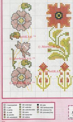 🌴 flores e beiras florais - 146 elementos 🌴 esquema para ponto de cruz. Discussão sobre LiveInternet - Serviço russo diários on-line