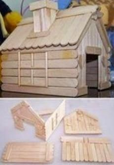diy, tutorial, how to, instructions Popsicle Stick Crafts House, Popsicle Sticks, Craft Stick Crafts, Art Carton, Home Crafts, Diy And Crafts, Diy For Kids, Crafts For Kids, Ice Cream Stick Craft