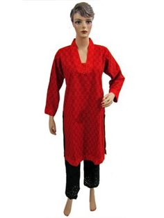 Indian Kurtis Womens Tunic Top Red Floral Printed Cotton Kurta M Mogul Interior,http://www.amazon.com/dp/B007HVEOZW/ref=cm_sw_r_pi_dp_Gy51qb0782FB61A2