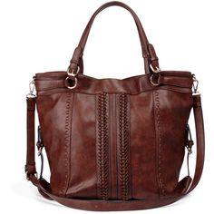Sole Society Alessandra Oversize Woven Shoulder Bag (215 BRL) ❤ liked on Polyvore featuring bags, handbags, shoulder bags, purses, mahogany, shoulder handbags, brown handbags, oversized shoulder bag, vegan handbags and man shoulder bag