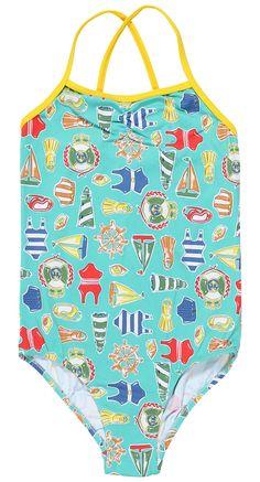 nautical print on turquoise swimsuit - Stella Cove - Beautiful Beachwear Kids Bathing Suits, Kids Suits, Boys Swimwear, Swimsuits, Baby Girl Swimsuit, Skirts For Kids, Boys Swim Trunks, Luxury Swimwear, Beachwear
